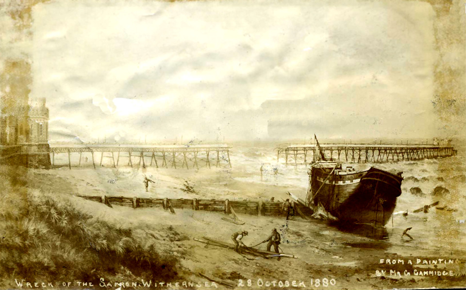The Safron hits Withernsea Pier 1880